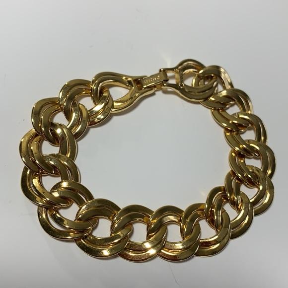 "VTG Monet Double Wavy Link Bracelet 7.5"" Gold Tone"